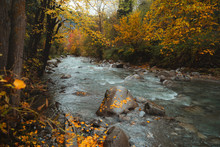 Autumn Hiking Trail In Pyrenees Along The River