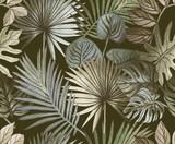 Tropikalny wzór malowany błyszczącymi farbami. tropikalne liście różowego złota - 305010436