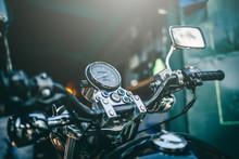 Motorcycle Speedometer In Close Up View, Speed Meter