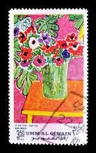 Cancelled Postage Stamp Printed By Umm Al Qiwain, That Shows Painting By Matisse, Circa 1971.