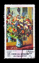 Cancelled Postage Stamp Printed By Umm Al Qiwain, That Shows Painting By Renoir, Circa 1971.