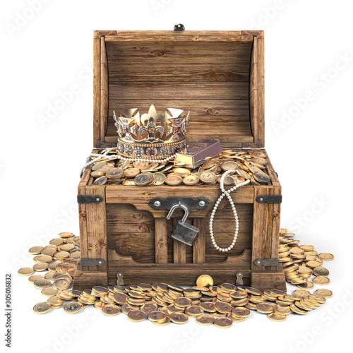Fototapeta Open treasure chest filled with golden coins, gold and jewelry isolated on white background