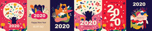New Year Illustrations With Big Tree And Birds And Set Of Abstract Pattern