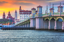 St. Augustine, Florida, USA City Skyline And Bridge Of Lions