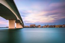 Sarasota, Florida, USA Town Cityscape From Sarasota Bay.