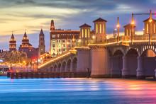 St. Augustine, Florida, USA City Skyline And Bridge Of Lions