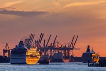 Cruise Ships Leaving Port Of Hamburg On Sunday Evening