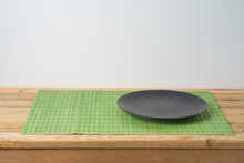 Black Empty Plate And Bamboo P...