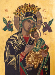 Zegiestow, Poland. 2019/8/10. Icon of the Mother of Perpetual Help. Roman Catholic Church of Saint Anne (formerly Byzantine church of Saint Michael the Archangel ).