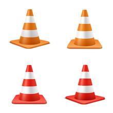 Red And Orange Road Cones Realistic Illustrations Set