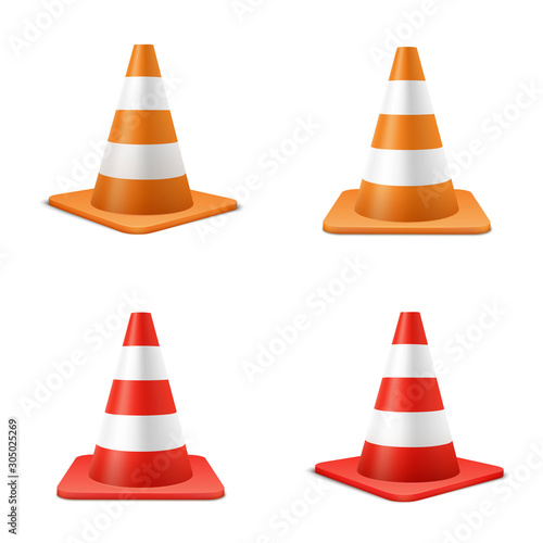 Obraz na plátně Red and orange road cones realistic illustrations set