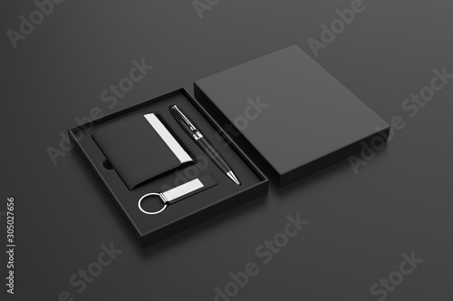 Photo Visiting card holder, key chain and pen gift set box, 3d render illustration
