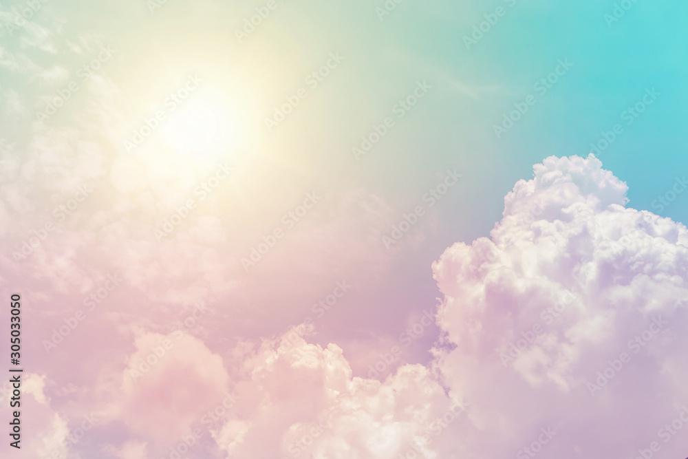 Fototapeta sunny cloud sky fantasy colorful pastel color for background