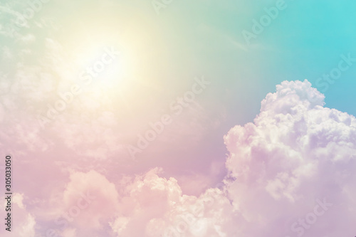 Fotografie, Obraz sunny cloud sky fantasy colorful pastel color for background