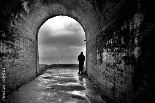 Photo artistic black and white, tribute to Ansel Adams, photography of suicide, depres