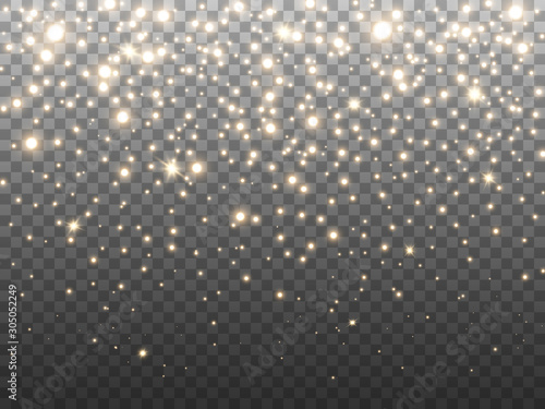 Obraz Gold glitter particles on transparent backdrop. Golden glowing confetti. Greeting card decoration. Falling shining stars and stardust. Christmas light effect. Vector illustration - fototapety do salonu