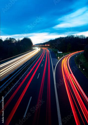 Autobahn Deutschland Abenddämmerung Lichtspruren Anschlussstelle Ausfahrt Auffah Wallpaper Mural