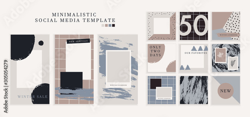 Fotografia, Obraz Trendy color pallette, winter vibe templates for post and stories for your social media