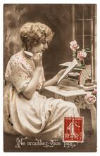 Postcard Antique Portrait Youn...