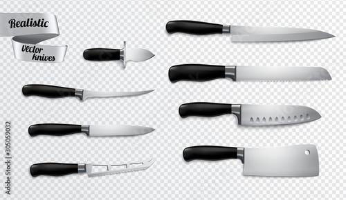 Fototapeta Knives Realistic Transparent Background