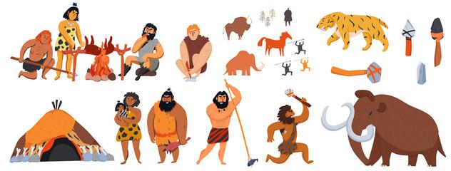 Cavemen Cartoon Set