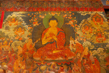Interior Of Famous Buddhist Temple Jokhang In Lhasa With Paintings, Tibet