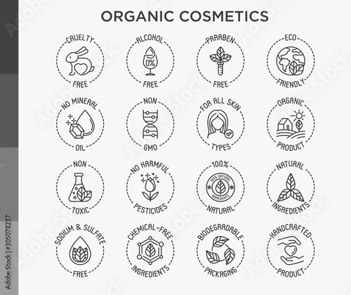 Fotomural Organic cosmetics set of thin line icons for product packaging