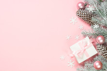 Christmas Flat Lay Background With Christmas Present Box On Pink.