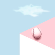 A Lonely Baseball Ball In A Graphic Landscape, Pastel Mood