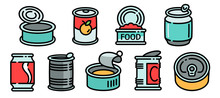 Tin Can Icons Set. Outline Set...