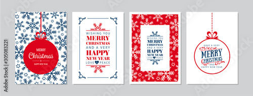 Obraz Merry Christmas cards set with hand drawn elements. Doodles and sketches vector Christmas illustrations, DIN A6 - fototapety do salonu
