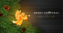 Christmas And New Year Greeting Card Template With Golden Angel And Fir Tree