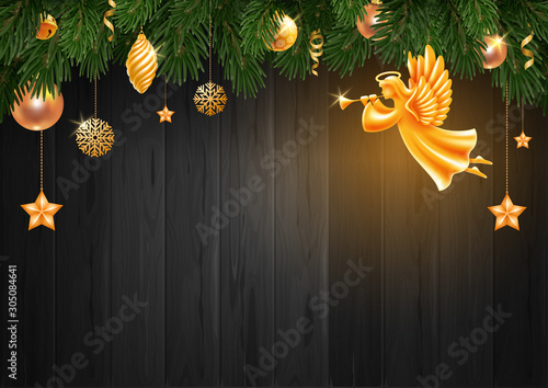 Fototapeta Christmas And New Year Greeting Card Template With Golden Angel And Christmas Decorations obraz