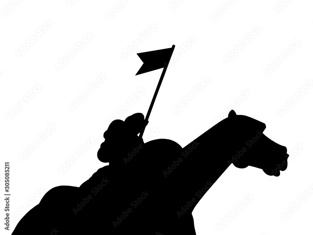 Fototapety, obrazy: Silhouette of a knight on a horseback on white background