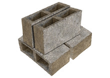 Set Gray Block Of Concrete And Cement Isolated Over White Background. Cinder Brick Used In The Construction Of Walls