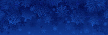 Blue Christmas Banner With Sno...