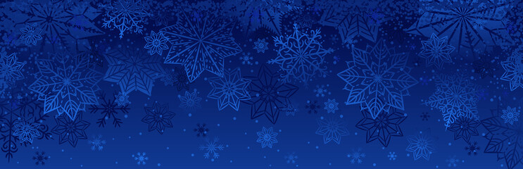 Fototapeta na wymiar Blue christmas banner with snowflakes. Merry Christmas and Happy New Year greeting banner. Horizontal new year background, headers, posters, cards, website.Vector illustration