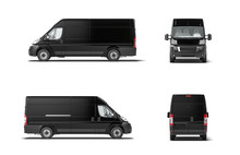 Modern Black Delivery Truck Va...