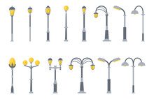 Set Of Street Lights Cartoon Isolated On White Background. Modern And Vintage Street Light. Elements For Landscape Construction. Vector Illustration For Any Design.