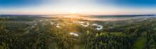 Sunrise In The Bog Landscape. ...