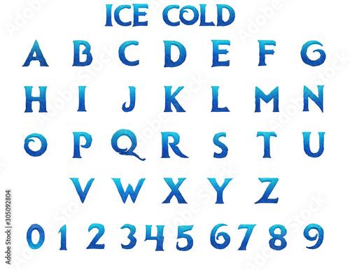 Obraz na plátně  Ice Cold Alphabet - 3D Illustration