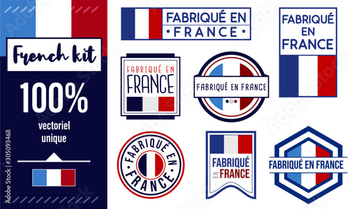 Fotografiet Logo / Label / sticker / Fabriqué en France