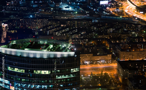 Night Moscow aerial view, capital of Russia. Top view.