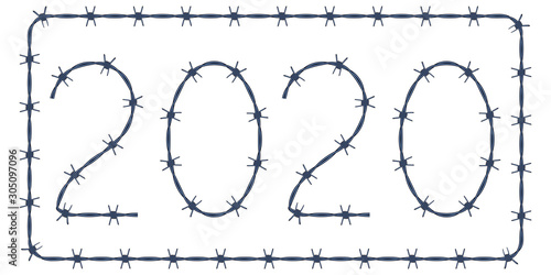 Barbed wire 2020 lettering Fototapet
