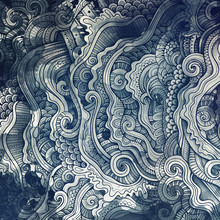 Decorative Abstract Wavy Ornamental Ethnic Raster Background
