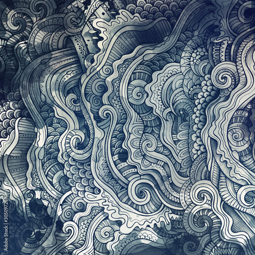 Fond de hotte en verre imprimé Style Boho Decorative abstract wavy ornamental ethnic raster background