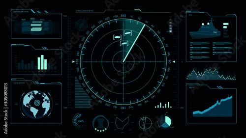 Fotografia Command center, user interface, game, radar, sonar