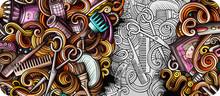 Hair Salon Hand Drawn Doodle B...