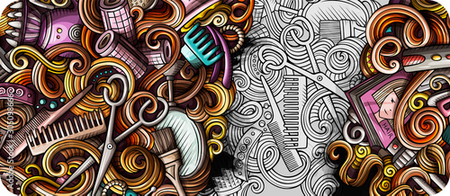 Hair salon hand drawn doodle banner. Cartoon detailed illustrations.