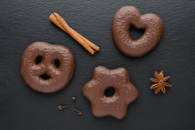Traditional German Christmas Chocolate Gingerbread Lebkuchen With Cinnamon Sticks, Anise And Clove